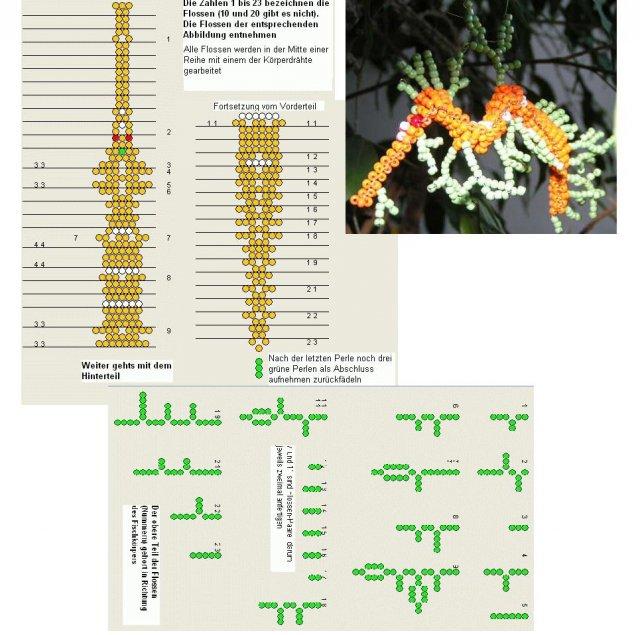 Восточный дракон.  Схема плетения из бисера.
