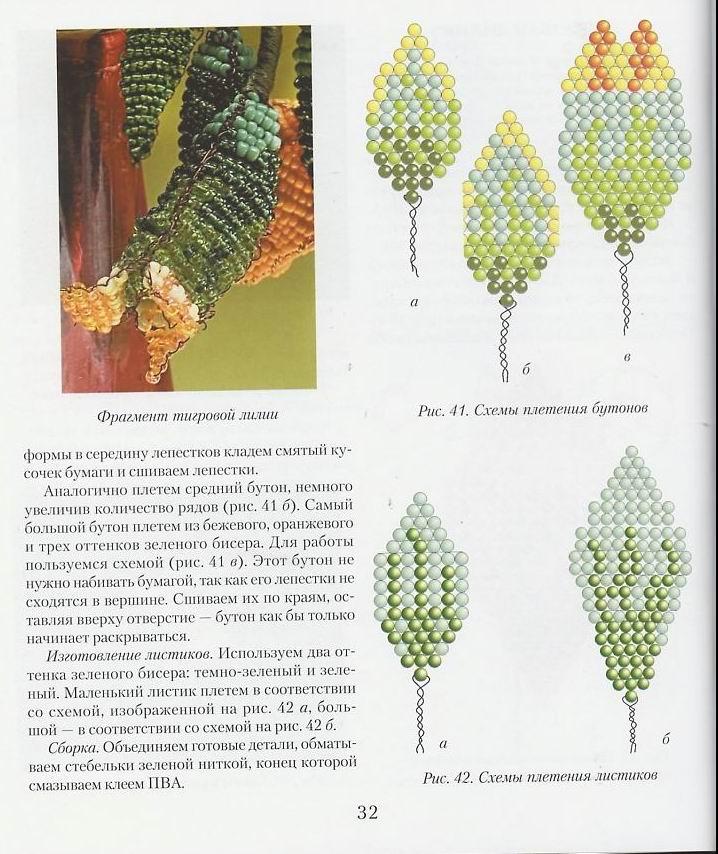 Лилии с бисера схемы и