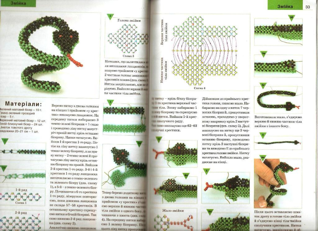 Схемы плетения змеи-символа